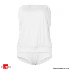 Women Sexy Strapless One Piece Swimwear High Elasticity Backless Swimsuit White Colour L Size