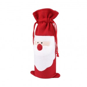 Santa Claus Style Champagne Wine Bottle Cover Bag Décor for Christmas
