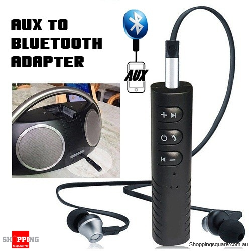 3.5mm Aux to Wireless Bluetooth Receiver Adapter Converter for Headphones Headset Earphones Black Colour