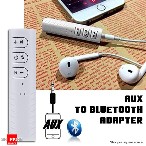 3.5mm Aux to Wireless Bluetooth Receiver Adapter Converter for Headphones Headset Earphones White Colour
