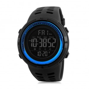 Skmei 1251 Men's Waterproof Digital Sports Watch with Backlight - Black & Blue Colour