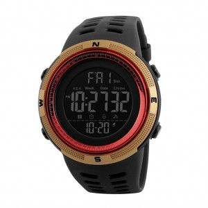 Skmei 1251 Men's Waterproof Digital Sports Watch with Backlight - Gold Colour