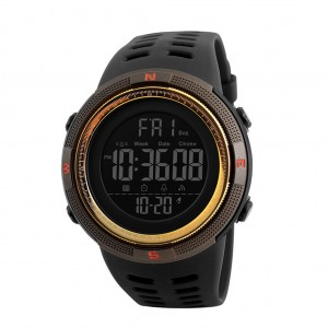 Skmei 1251 Men's Waterproof Digital Sports Watch with Backlight - Coffee Colour