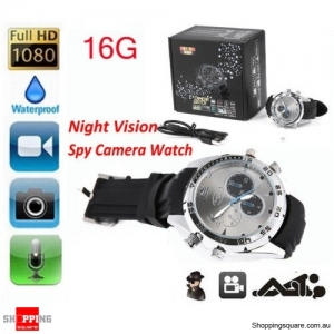 1080P HD 16GB Waterproof SPY Hidden DVR Video Camera Wrist Watch IR Night Shoot