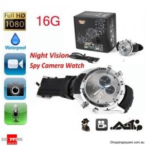 1080P HD 16GB Waterproof SPY Hidden DVR Video Camera Wrist Watch IR Night Shoot