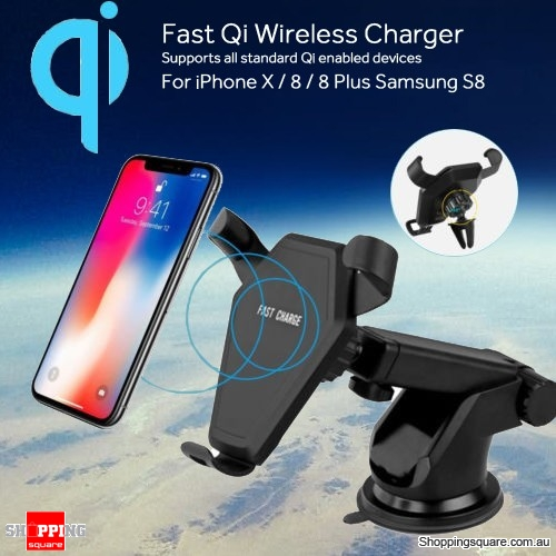 Qi 10W Wireless Gravity Car Fast Charger Mount Holder Stand for iPhone 8 X Samsung
