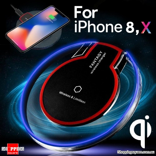 QI Wireless Fast Charger Charging Pad Mat Receiver for iPhone 8 X Samsung S 6 7 8 Black Colour