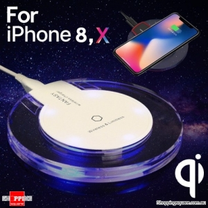 QI Wireless Fast Charger Charging Pad Mat Receiver for iPhone 8 X Samsung S 6 7 8 White Colour