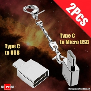 2PCs Set of Type C to Micro USB & USB OTG Cable Sync Data Adapter Converter for OnePlus Xiaomi Android Samsung