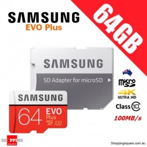 Samsung EVO Plus 64GB micro SD SDXC Memory Card UHS-I U3 100MB/s 4K Ultra HD with Adapter