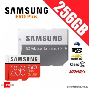 Samsung EVO Plus 256GB micro SD SDXC Memory Card UHS-I U3 100MB/s with Adapter