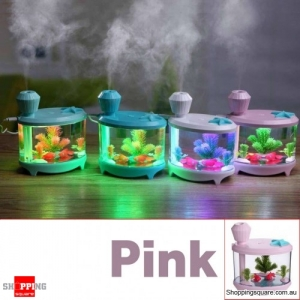 USB Colorful LED Daily Essential Oil Water Tank Ultrasonic Air Humidifier Aromatherapy Diffuser Pink Colour