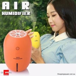 Mini Air Humidifier USB Light Lamp Lemon Steam Vaporiser for Car & Home Orange Colour