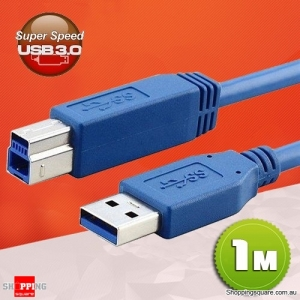 1M USB 3.0 Data Cable Type A Male to B Male High Speed for Printer Scanner