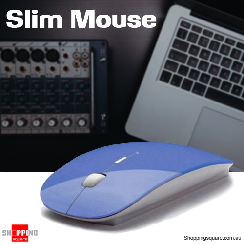 Slim Wireless Optical Mouse 2.4GHz Mice USB 2.0 for PC Laptop Computer Macbook Blue Colour