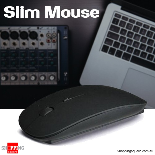 Slim Wireless Optical Mouse 2.4GHz Mice USB 2.0 for PC Laptop Computer Macbook Black Colour