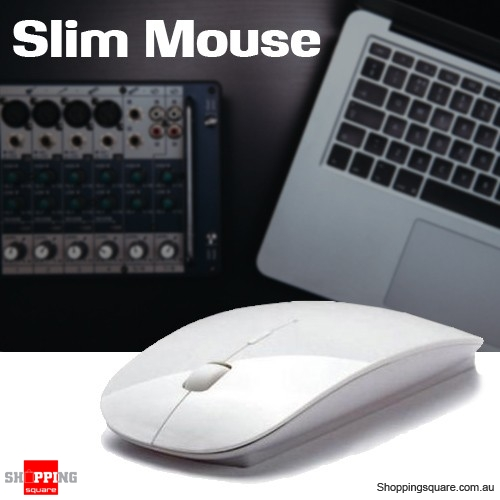 Slim Wireless Optical Mouse 2.4GHz Mice USB 2.0 for PC Laptop Computer Macbook White Colour