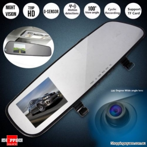 HD 720P 2.4 inch Car Rear View Mirror DVR Dash Cam Video Camera Recorder with G-sensor