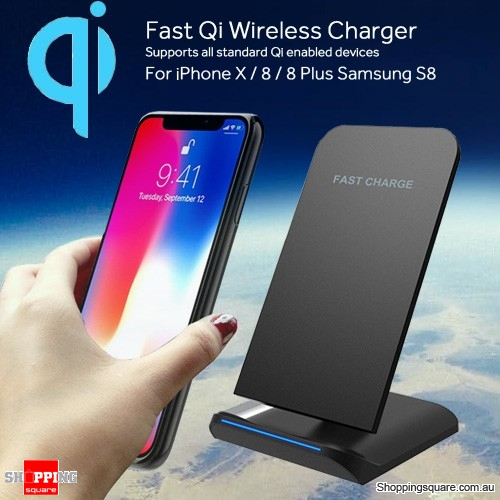 Bakeey Qi Wireless Fast Charger For iPhone X 8 Samsung S9 S8 Note 8 Black Colour