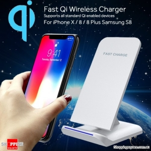 Bakeey Qi Wireless Fast Charger For iPhone X 8 Samsung S9 S8 Note 8 White Colour