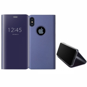 Mirror Window View Kickstand PC+TPU Case For iPhone X Dark Blue Colour