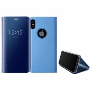 Mirror Window View Kickstand PC+TPU Case For iPhone X Blue Colour