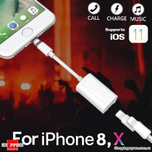 2 in 1 Dual Adapter Splitter Charging & Headphone Audio for iPhone X 8 Plus