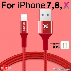 Baseus Metallic Lightning Compatible USB Charge Sync Cable for iPhone X 8 7 6 S Plus SE iPad Red Colour