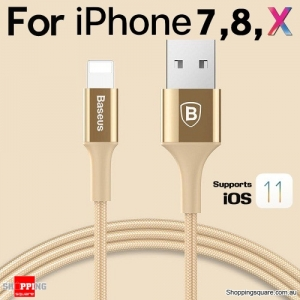 Baseus Metallic Lightning Compatible USB Charge Sync Cable for iPhone X 8 7 6 S Plus SE iPad Gold Colour