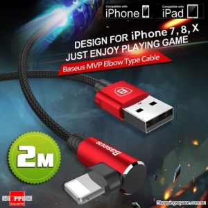 2M Baseus Lightning Compatible Data Sync Cable Charger for iPhone X 8 7 6 S Plus 5 iPad Red Colour