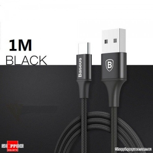 1M Baseus Type-C 2A Nylon Charging Data Sync Cable with indicator light For Samsung Galaxy S8 Note8 Black Colour