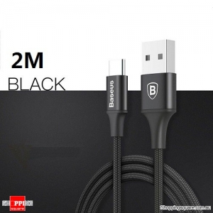 2M Baseus Type-C 2A Nylon Charging Data Sync Cable with indicator light For Samsung Galaxy S8 Note8 Black Colour
