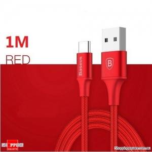 1M Baseus Type-C 2A Nylon Charging Data Sync Cable with indicator light For Samsung Galaxy S8 Note8 Red Colour