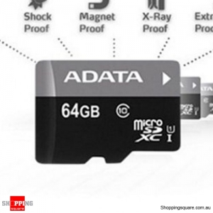 ADATA Class 10 Micro SDHC Memory Card TF Flash UHS-I for Mobile Phone - 64GB