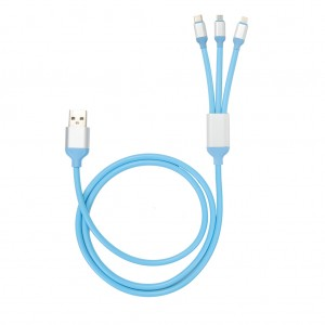 3 in 1 USB Data Sync Charing cable for iPhone/Micro/Type C Blue Colour