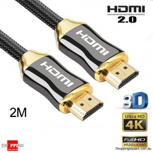 2M Premium HDMI Cable V2.0 3D 4K Ultra HD Audio Gold Plated HighSpeed
