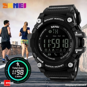 SKMEI 1227 50M Waterproof Bluetooth Sports Smart Watch Supported Call Message Notification Pedometer Black Colour
