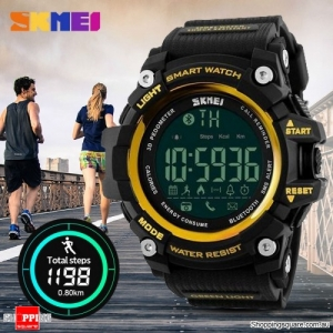 SKMEI 1227 50M Waterproof Bluetooth Sports Smart Watch Supported Call Message Notification Pedometer Yellow Colour