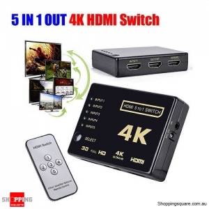 5 Port IN 1 OUT 4K Ultra HD HDMI Switch Splitter for HDTV with Auto Remote Control