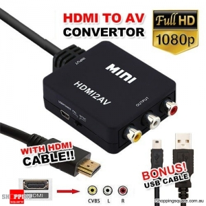 Composite AV CVBS 3RCA to HDMI Video Cable Adapter Converter for 1080p Downscaling