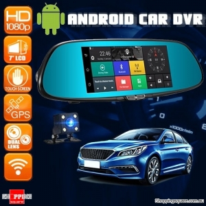 7 Inch Android HD Car Rear View Mirror Shaped Dash Camera DVR with Dual Lens 3G WIFI GPS