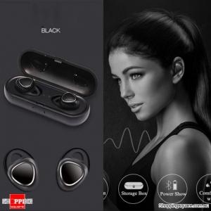 TWS-R150 Bluetooth Wireless Miniature Dual Ear Mini Headset - Black