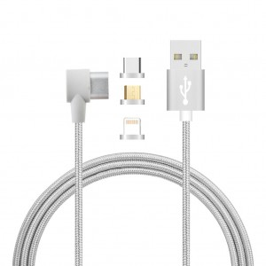 3 in 1 Lightning/ Type-C/Micro USB Magnetic Head Data Charger Cable 1M