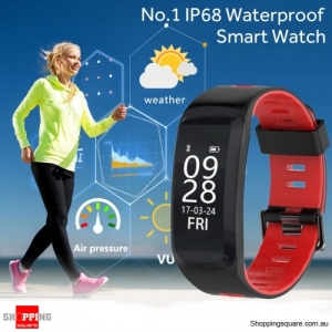 No.1 F4  IP68 Waterproof Blood Pressure Heart Rate Monitor Pedometer Smart Watch Bracelet for iOS Android Red Colour