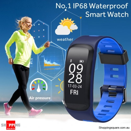 13cc0199b72 No.1 F4 IP68 Waterproof Blood Pressure Heart Rate Monitor Pedometer Smart Watch  Bracelet for iOS Android Blue Colour - Online Shopping   Shopping Square.