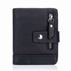 Men's Tri-fold Genuine Leather Wallet with 13 Card Slots Black Colour