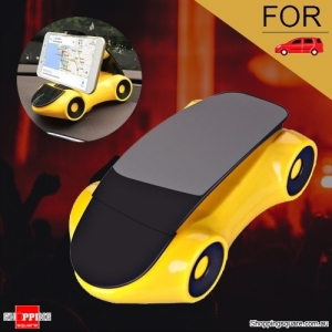 360 Degree Rotatable Car Stand Mount Holder for Samsung iPhone Android Yellow Colour