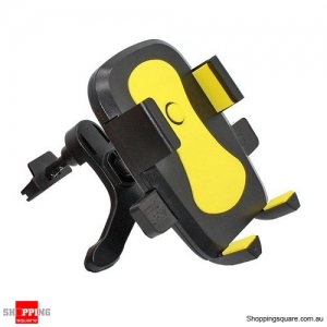360 Degree Rotating Air Vent Car Mount Holder for iPhone Samsung Yellow Colour