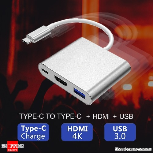 3 in 1 USB 3.1 Type-C USB-C to Female 4K HD HDMI Data Charging Adapter Converter Cable for Macbook