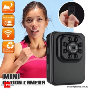 R3 Full HD WiFi Mini DVR Action Camera Supported Night Vision Black Colour